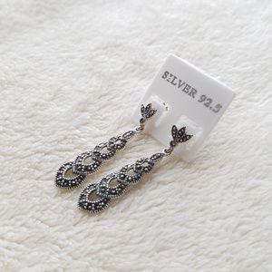 Jewelry - Silver 92.5% Marcasite Vintage Drop Earrings